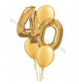 XXL dekoracija iz balonov 40 let, srebrna