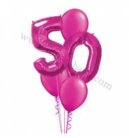 XXL dekoracija iz balonov 50 let, rdeča