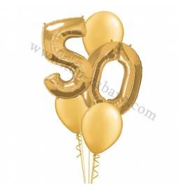 XXL dekoracija iz balonov 50 let, srebrna