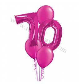 XXL dekoracija iz balonov 70 let, rdeča