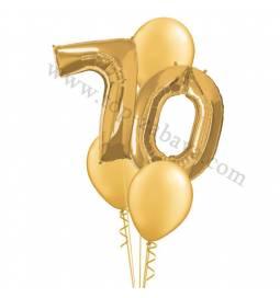 XXL dekoracija iz balonov 70 let, srebrna