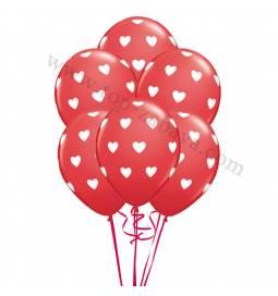 Dekoracija iz balonov Beli srčki, magenta 10/1