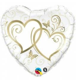 Folija balon Dve zlati srci 90 cm