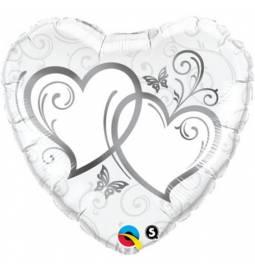 Folija balon Dve srebrni srci 90 cm