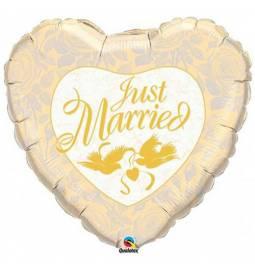 Folija balon Pravkar poročena, zlat