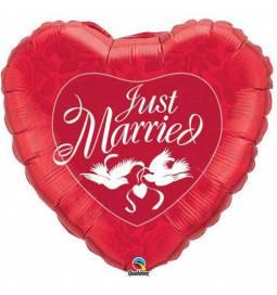 Folija balon Pravkar poročena, rdeč 90 cm