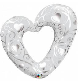 Folija balon Srce, Pearl White