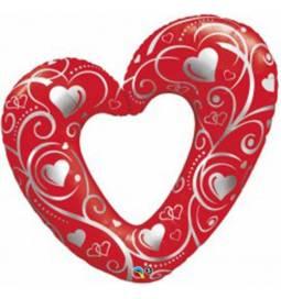 Folija balon Srce, Rdeč
