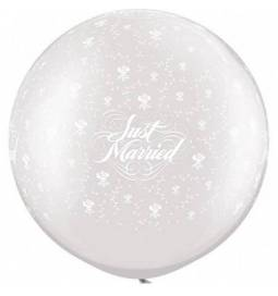 Jumbo poročni balon, Just Married, White
