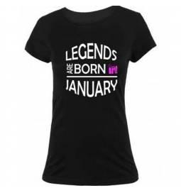 Ženska majica za rojstni dan, Legends january, črna