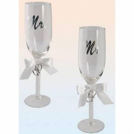 Set poročnih kozarcev Mrs, Mr