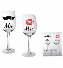 Set kozarcev za vino, Mr in Mrs