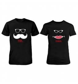 Komplet majic za pare, Mr Mrs, črni