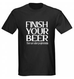 Majica Finish your beer, črna