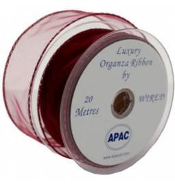 Organza trak širine 3 cm, Rdeč