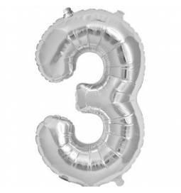 Folija balon številka 3, zlata 41 cm