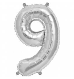Folija balon številka 9, zlata 41 cm