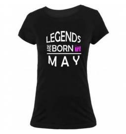 Ženska majica za rojstni dan, Legends may, črna
