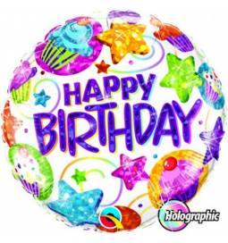Folija balon Happy Birthday Stars Streamers
