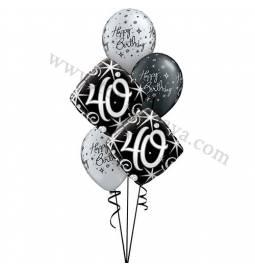 Dekoracija iz balonov za 40 let, elegant, manjša