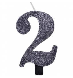 Svečka za rojstni dan številka 1, bleščeča, črna