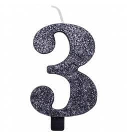 Svečka za rojstni dan številka 2, bleščeča, črna