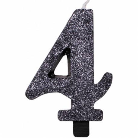 Svečka za rojstni dan številka 3, bleščeča, črna