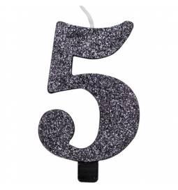 Svečka za rojstni dan številka 4, bleščeča, črna