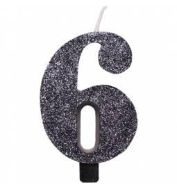 Svečka za rojstni dan številka 5, bleščeča, črna