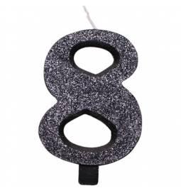 Svečka za rojstni dan številka 7, bleščeča, črna