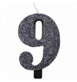 Svečka za rojstni dan številka 8, bleščeča, črna