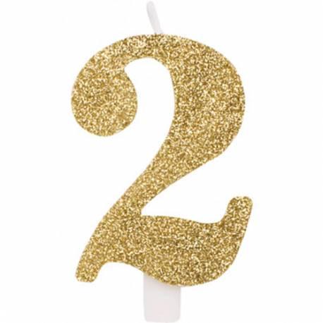 Svečka za rojstni dan številka 1, bleščeča, zlata