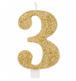Svečka za rojstni dan številka 2, bleščeča, zlata