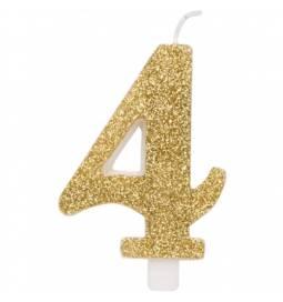 Svečka za rojstni dan številka 3, bleščeča, zlata
