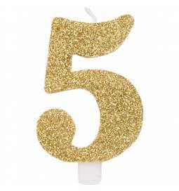 Svečka za rojstni dan številka 4, bleščeča, zlata
