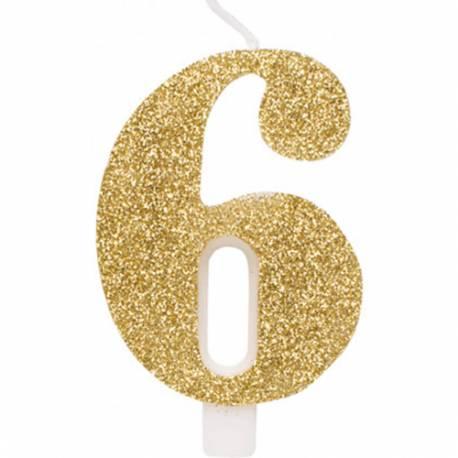 Svečka za rojstni dan številka 5, bleščeča, zlata
