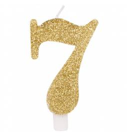 Svečka za rojstni dan številka 6, bleščeča, zlata