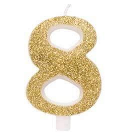 Svečka za rojstni dan številka 7, bleščeča, zlata