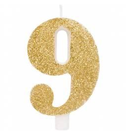 Svečka za rojstni dan številka 8, bleščeča, zlata