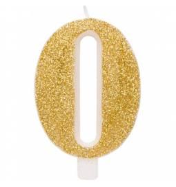 Svečka za rojstni dan številka 9, bleščeča, zlata