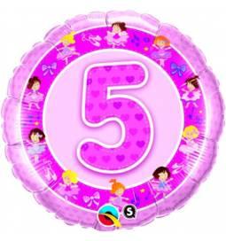 Folija balon za 4 leta, Pink princeske