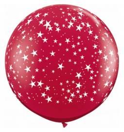 XXL lateks balon Zvezdice, srebrn