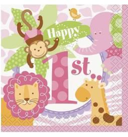 Serviete 1. rojstni dan, Pink Safari 20/1