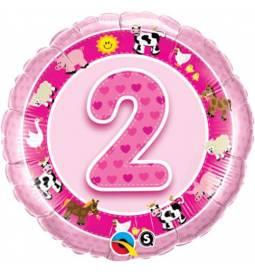 Folija balon 2. rojstni dan, Pink kmetija