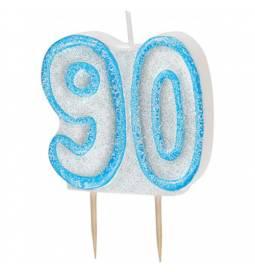 Svečka za 90 let, modra z bleščicami