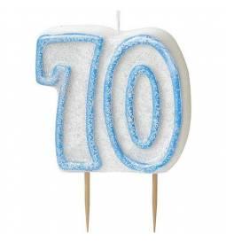 Svečka za 70. rojstni dan, Modra z bleščicami