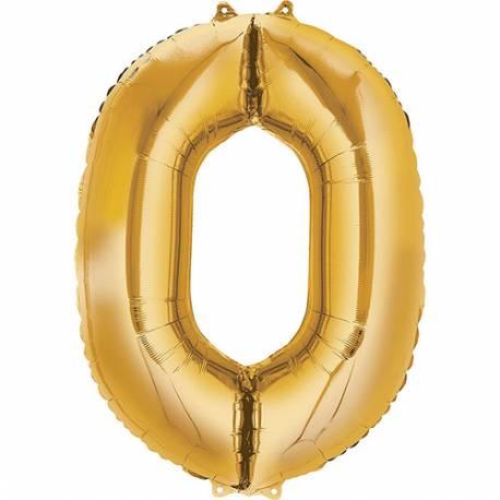 XXL balon številka 0, zlata