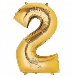 XXL balon številka 2, zlata