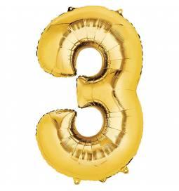 XXL balon številka 3, zlata