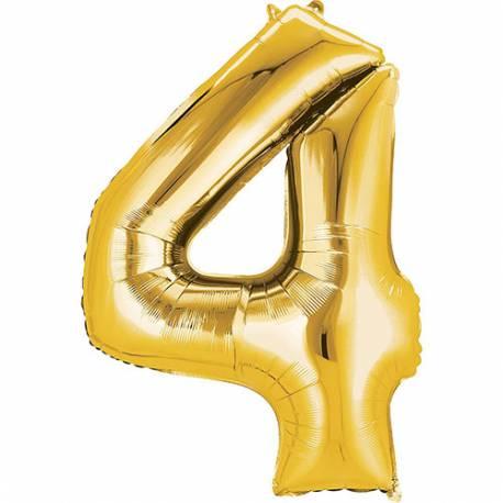 XXL balon številka 4, zlata